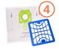 4 ks originálnych vreciek Zelmer v zelenej farbe ZVCA200B s HEPA filtrom