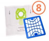 8 ks originálne vrecká Zelmer zelenej farby ZVCA200B s HEPA filtrom