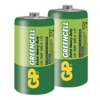 Zinkochloridové batérie GP Greencell R20 (D), 2 ks v balení